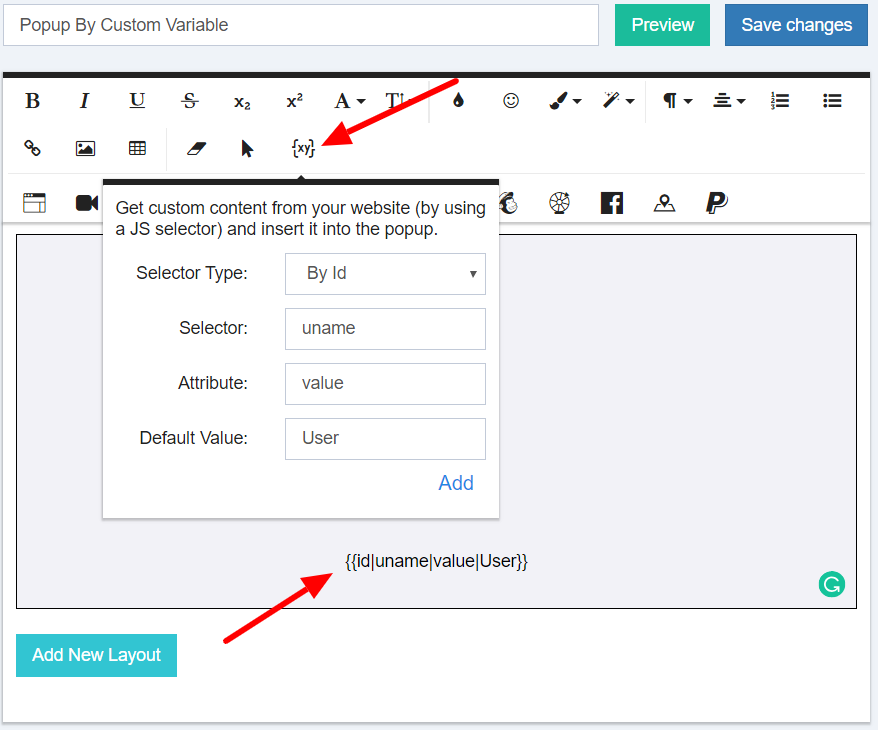 How to use custom variables in popup