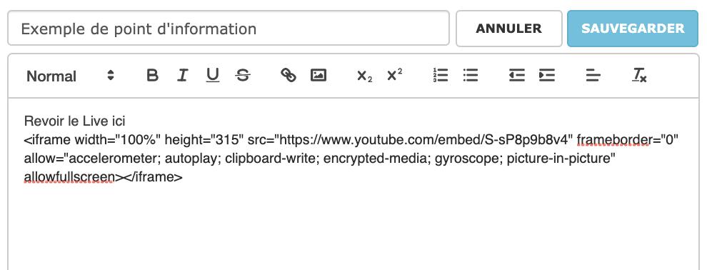 Exemple d'un code iFrame intégré