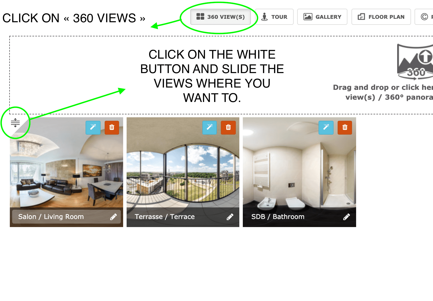 Set the starting view of a virtual tour