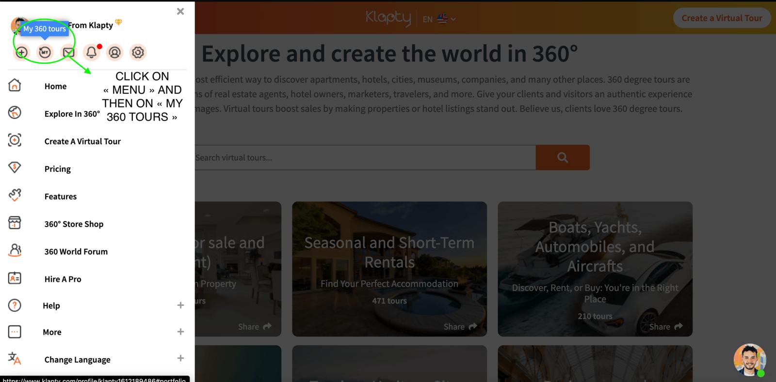Modify the order of virtual tours in your Klapty's portfolio