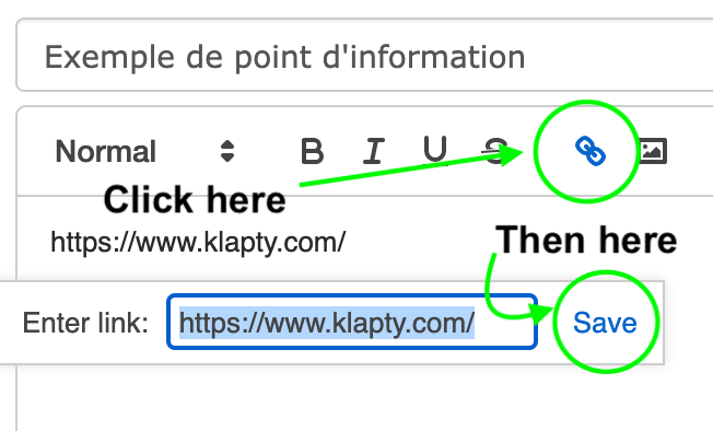 Insert a link in an information point