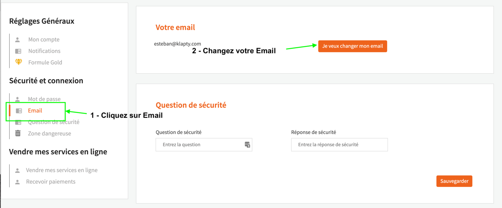Changer mon adresse email