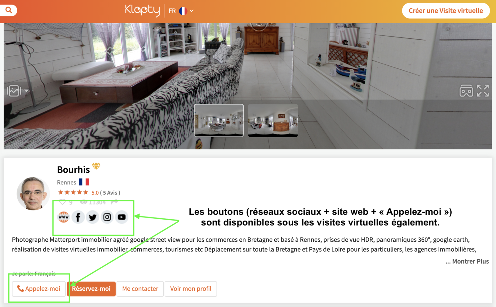 Exemple d'un profil Gold - visite virtuelle