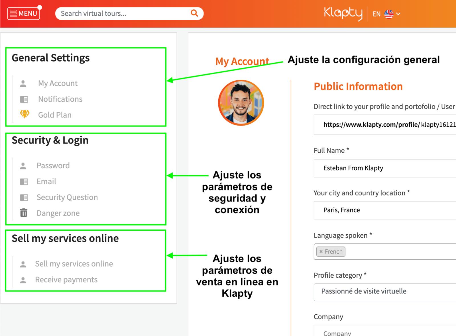 Configuración de cuenta Klapty