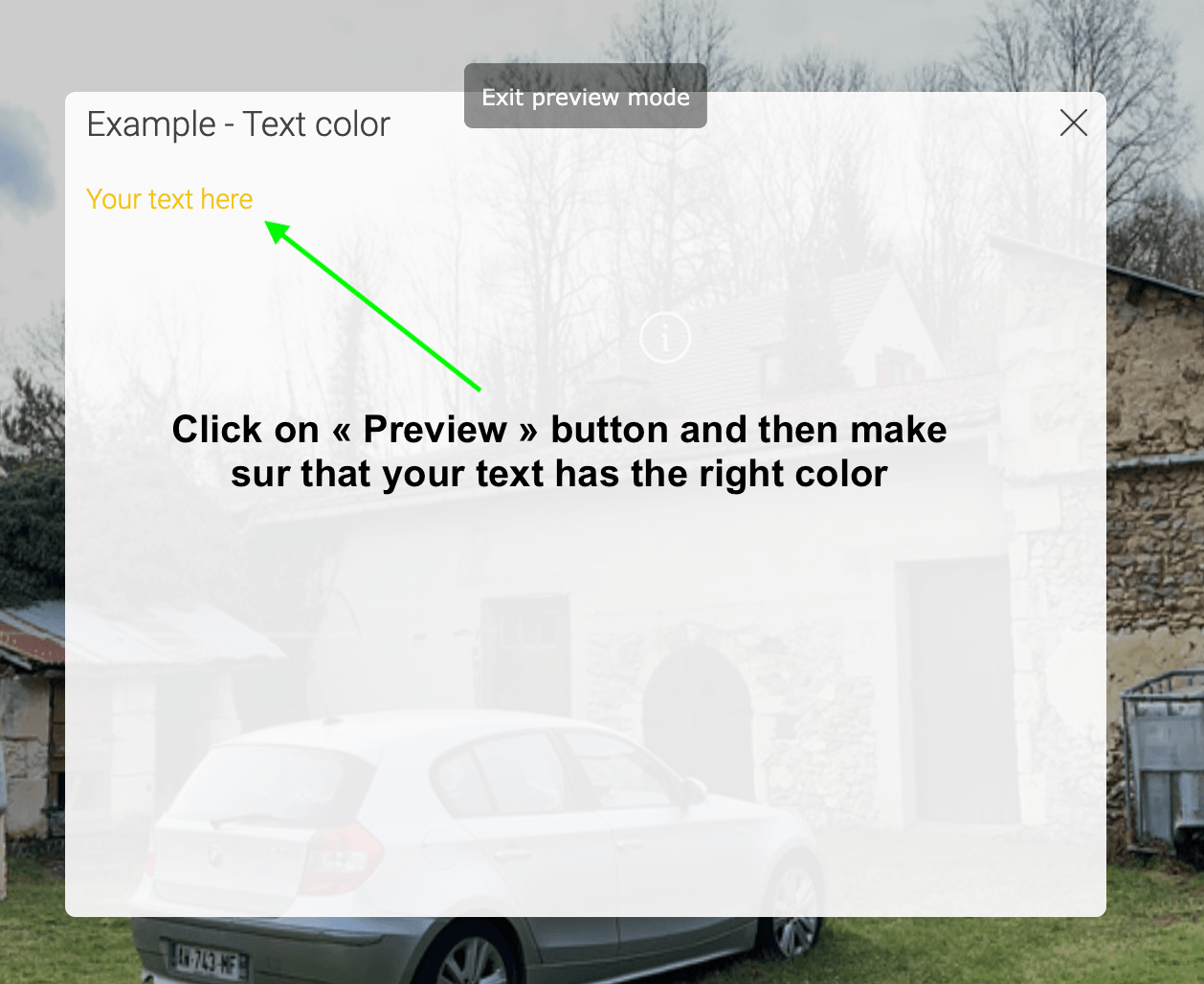 Add color to the text in an information hotspot