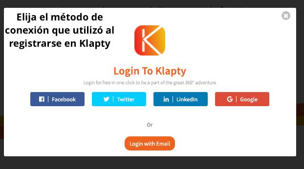 Iniciar sesión en Klapty