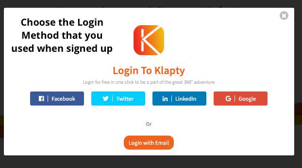 Login to Klapty