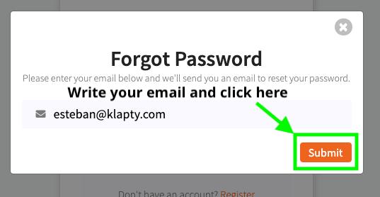 Reset my password in Klapty