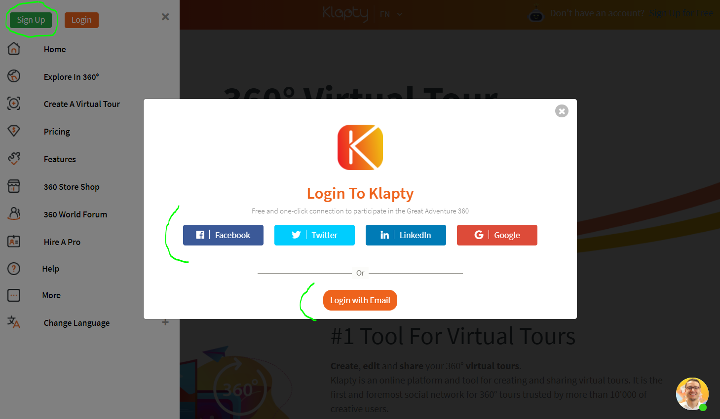 Sign up for Klapty with email or social media login