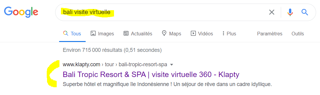 Example of a virtual tour ranked in the top position on the Google search engine