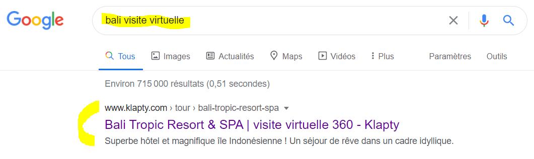 Exemple de visite virtuelle ayant la première position sur le moteur de recherche Google