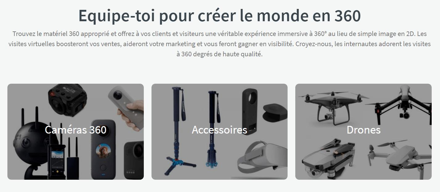 Trépied, monopode, caméra 360 et drones