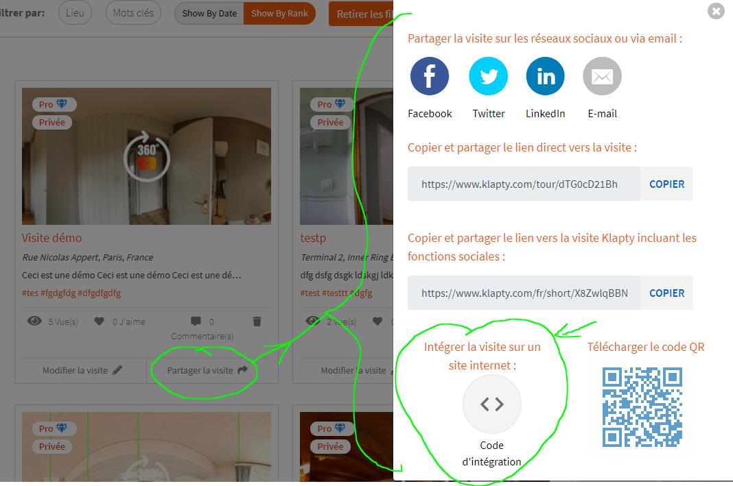 Intégrer la visite sur votre site internet