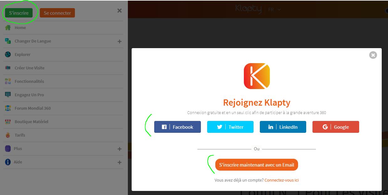 Regístrate en Klapty con el correo electrónico o el acceso a los medios sociales