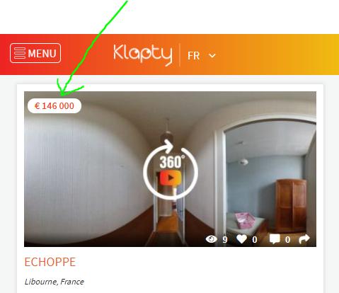 Ejemplo de un lugar donde el precio aparece en la miniatura de la visita virtual