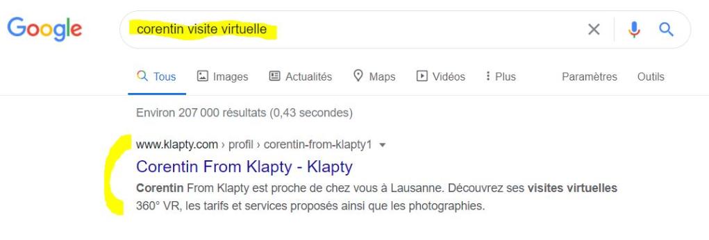Exemple de profilréférencé en première position sur Google