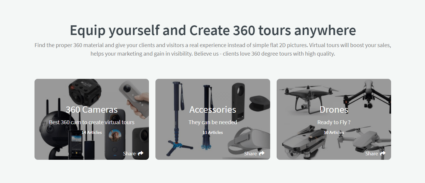 Tripods, monopods, 360 cameras, and drones