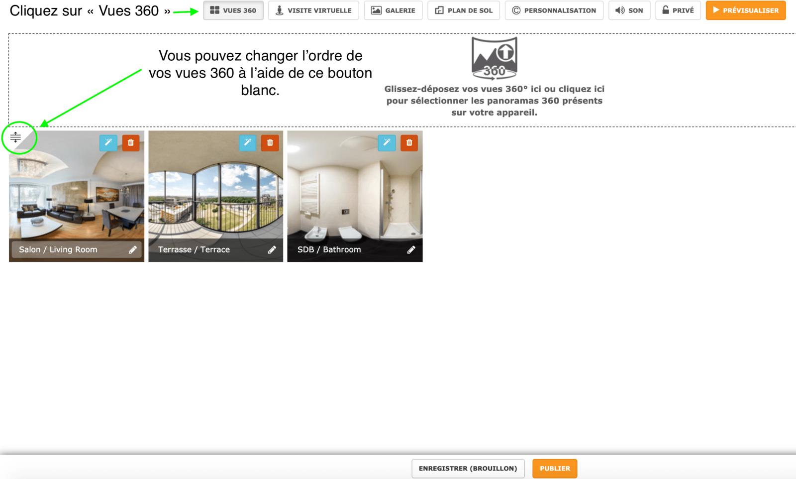 Modifier l'ordre des photos 360 dans votre visite virtuelle