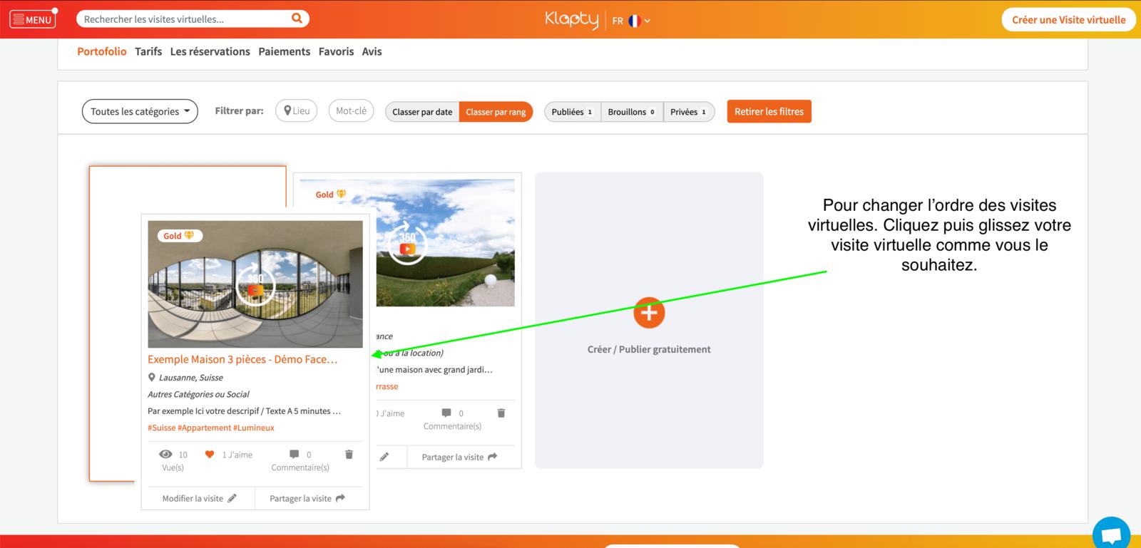 Modifier l'ordre des visites virtuelles dans votre portefeuille Klapty