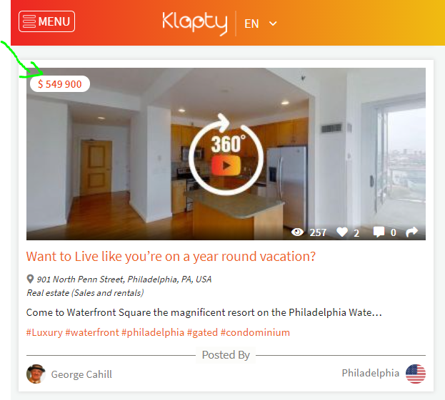 Example of a place where the price is listed on the thumbnail of the virtual tour