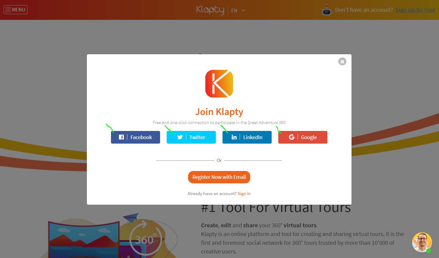 Example of account creation via social login plugin