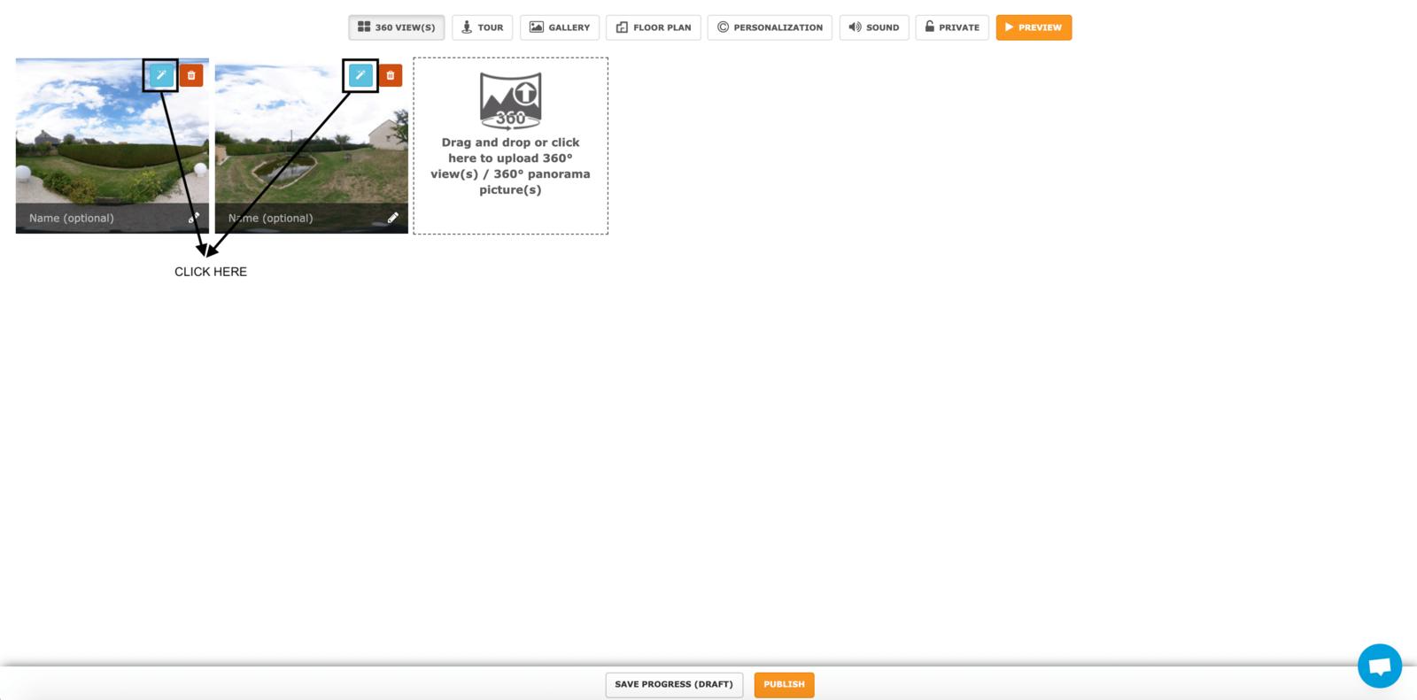 Step 2 - Enhancing a 360 virtual tour's photos