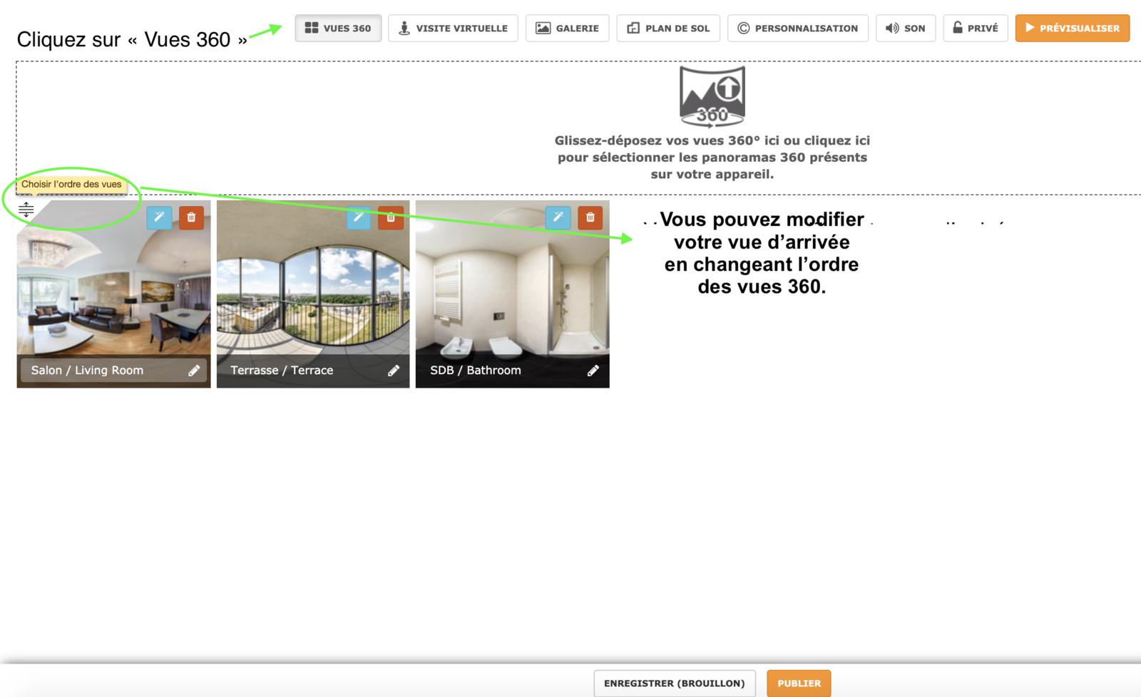 Choisir la vue d'arrivée sur ma visite virtuelle Klapty