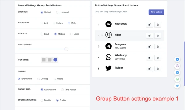 Group Button settings examples