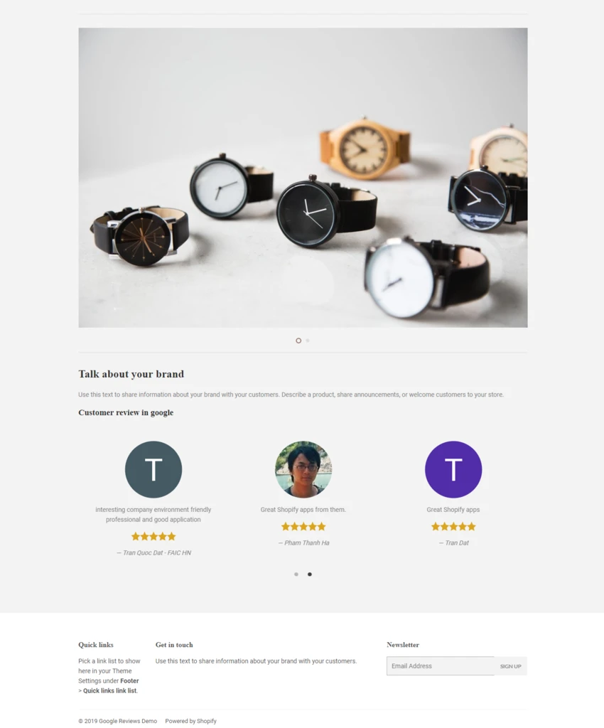 Google review display in top footer