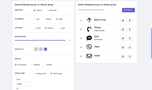 General Setting Group & Button Settings Group