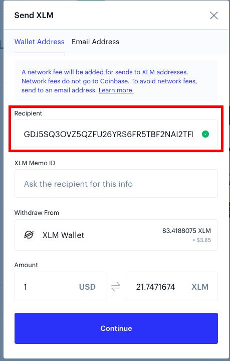 Dirección de tu billetera en la ventana de envío de Coinbase