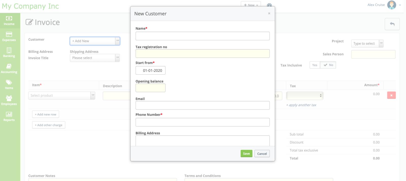 New customer creation window