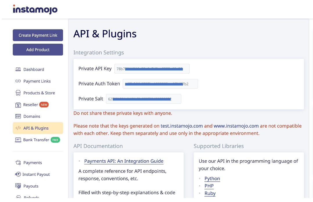 Instamojo integration API keys