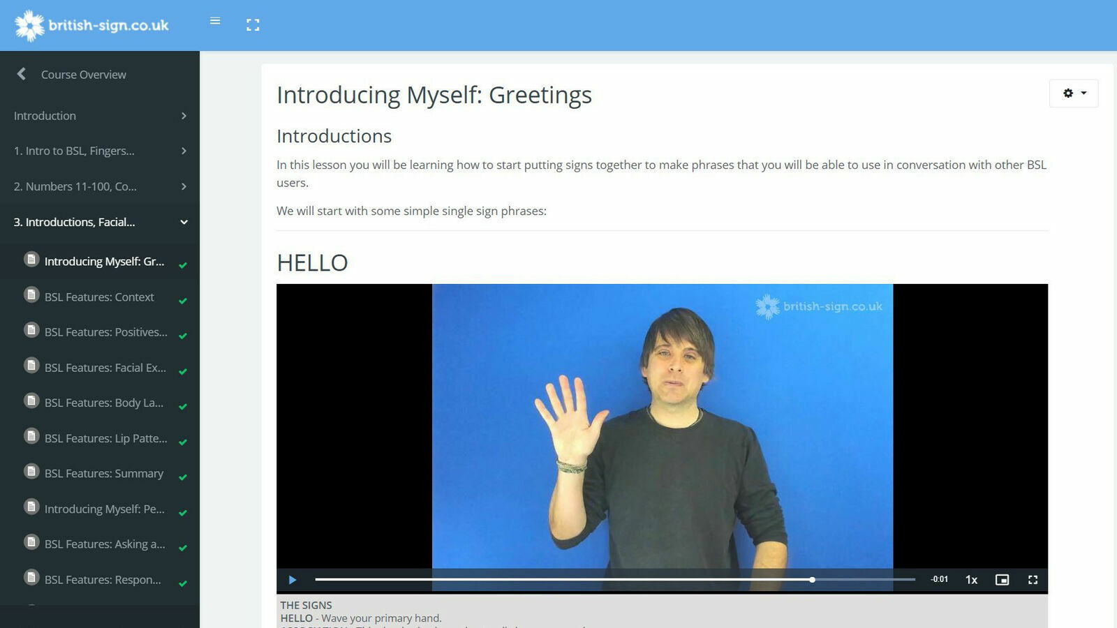 Introducing British Sign Language - online course