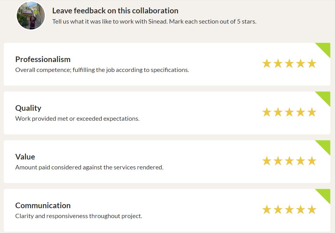 Leaving feedback
