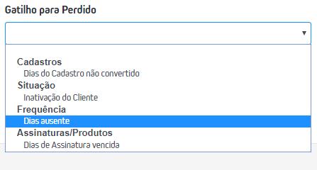 CRM > Cadastro de Funil > + > Novo Funil > Gatilho para Perdido