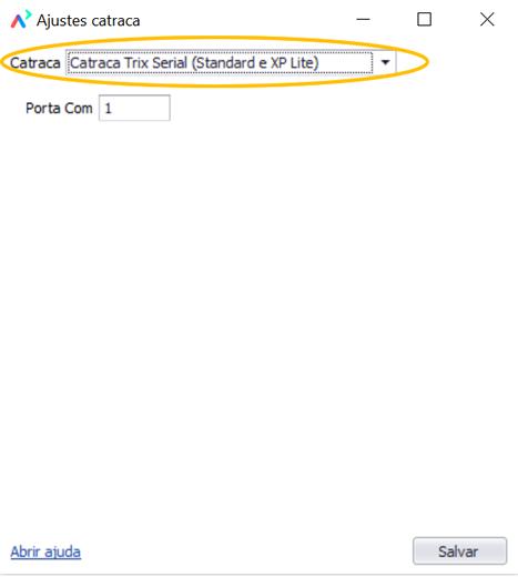 Selecione Catraca Trix Serial (Standard e XP Lite)