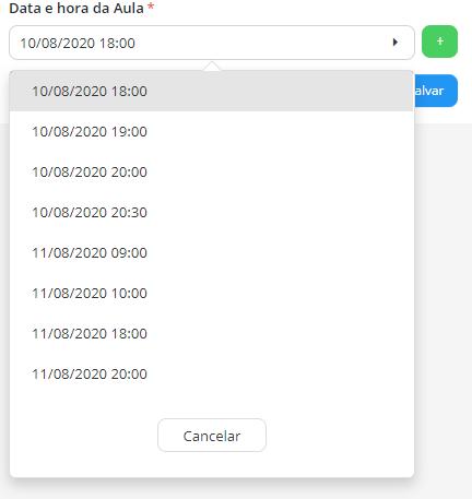 Trei.no > Aulas > Campo de seleção de Datas e Horários da Aula