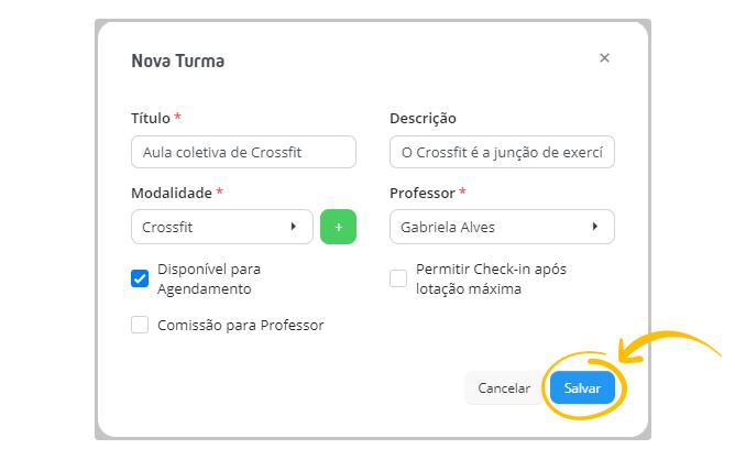 Trei.no > Aulas > Nova Aula > Nova Turma