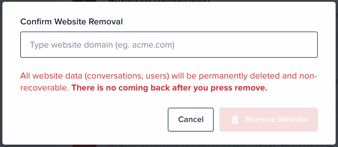 Enter your website domain (used to double-confirm removal)