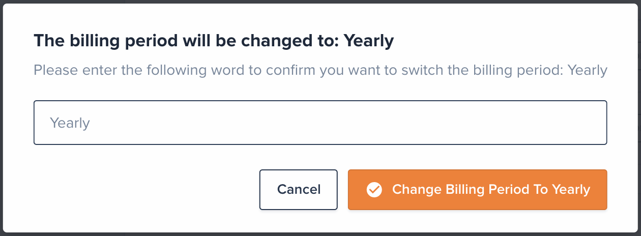 Then, confirm you want to switch to Yearly