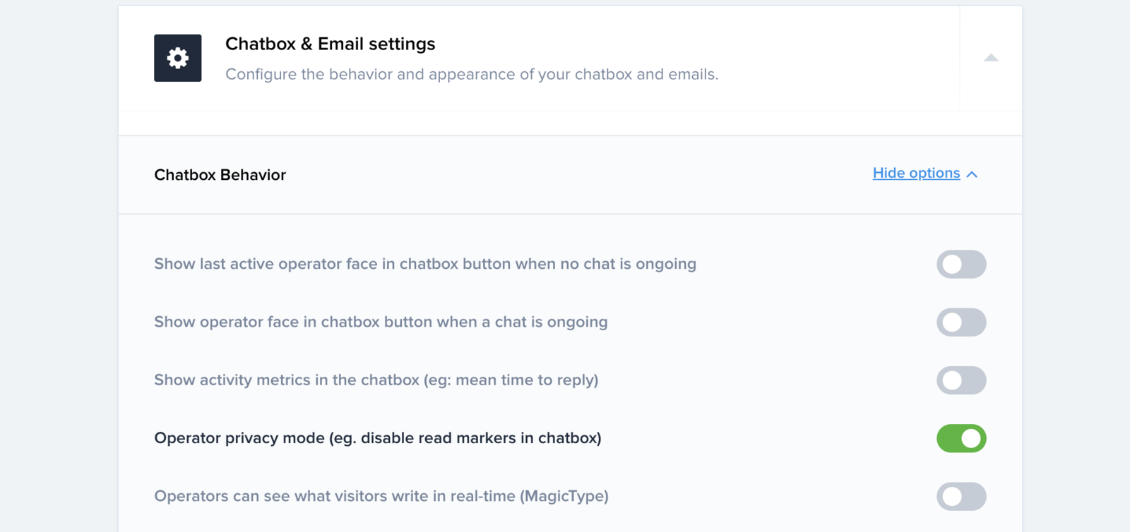 Enable operator privacy mode in your chatbox settings
