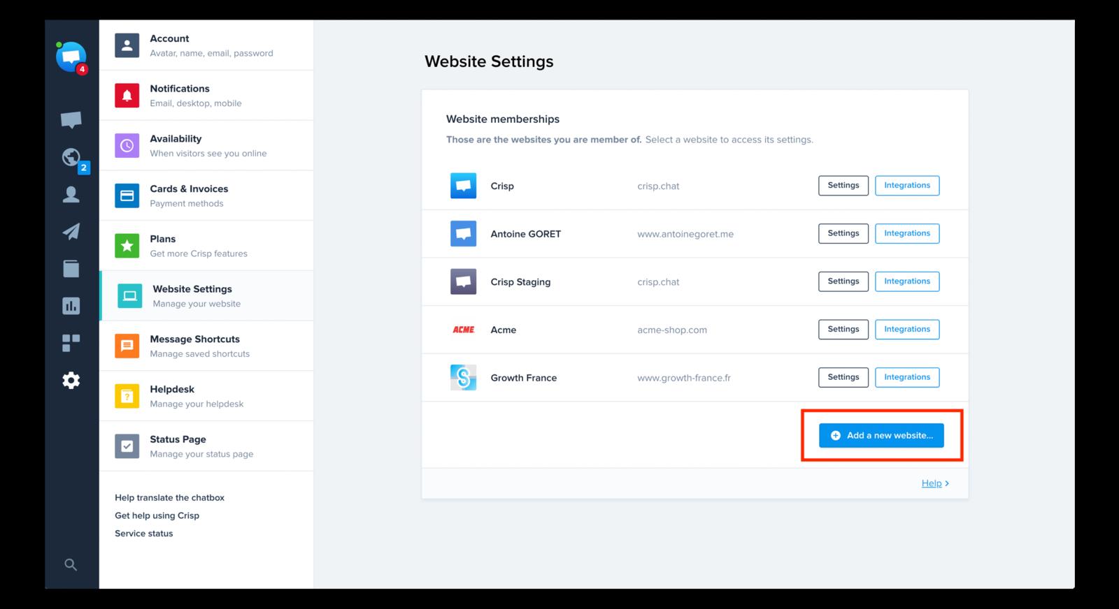 Click Create a new website