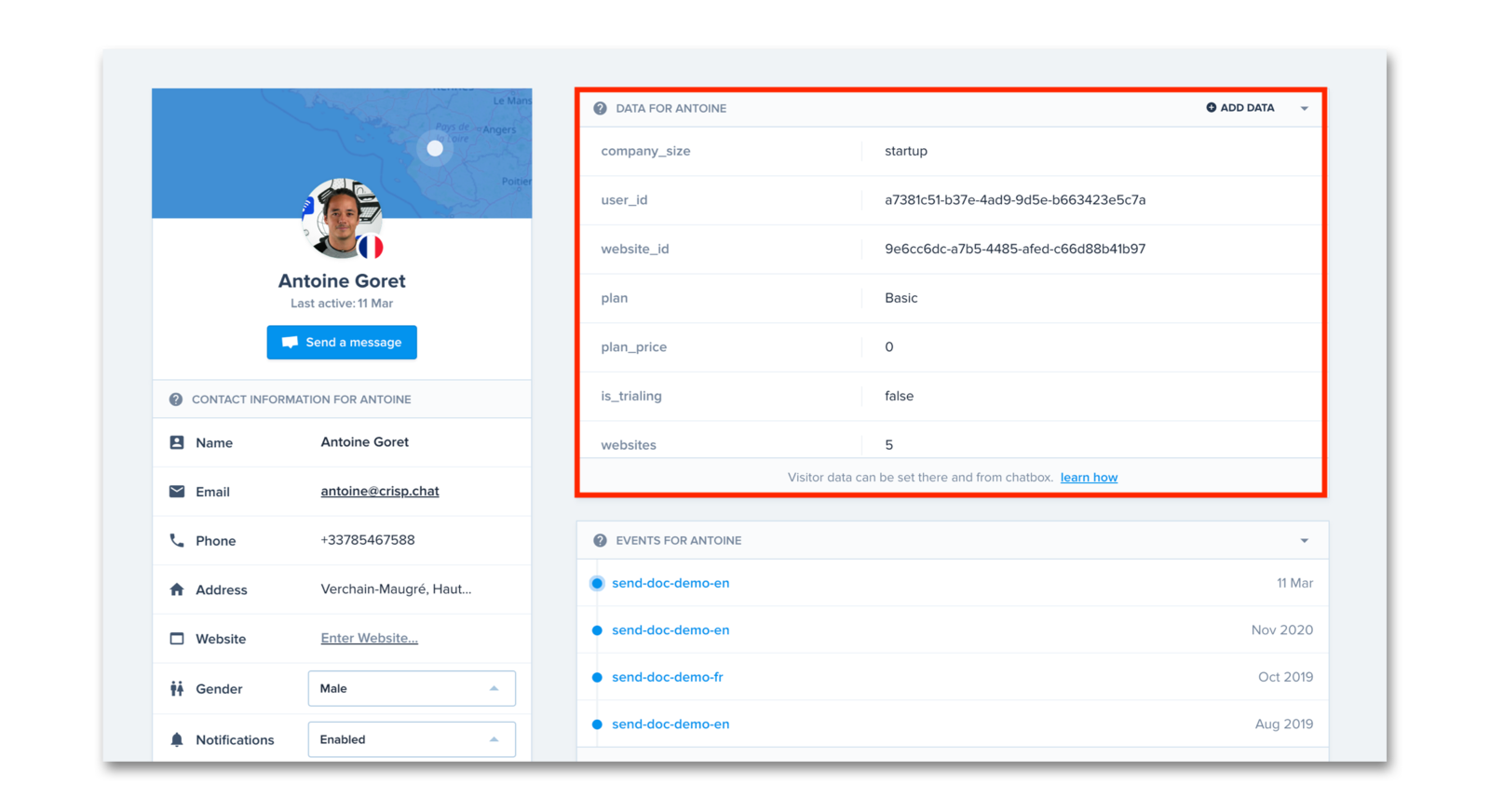 view of a user profile with a focus on custom data