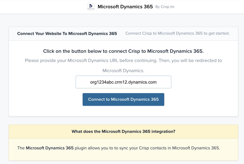 Microsoft Dynamics 365 plugin configuration page
