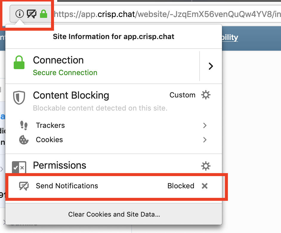 Ensure the Send Notifications permission is not blocked