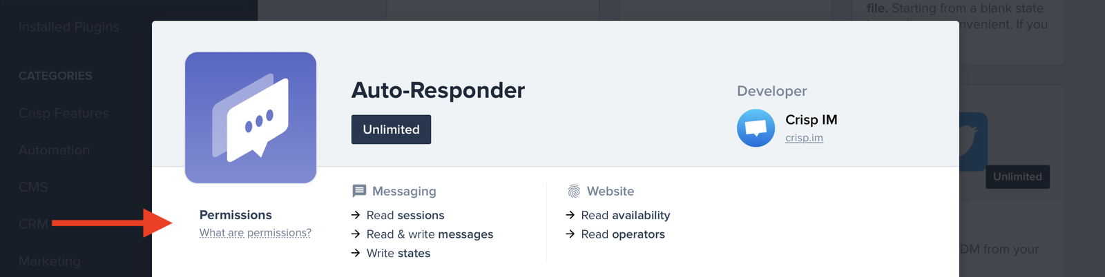 The permissions for each plugin can be viewed (here: Auto-Responder)