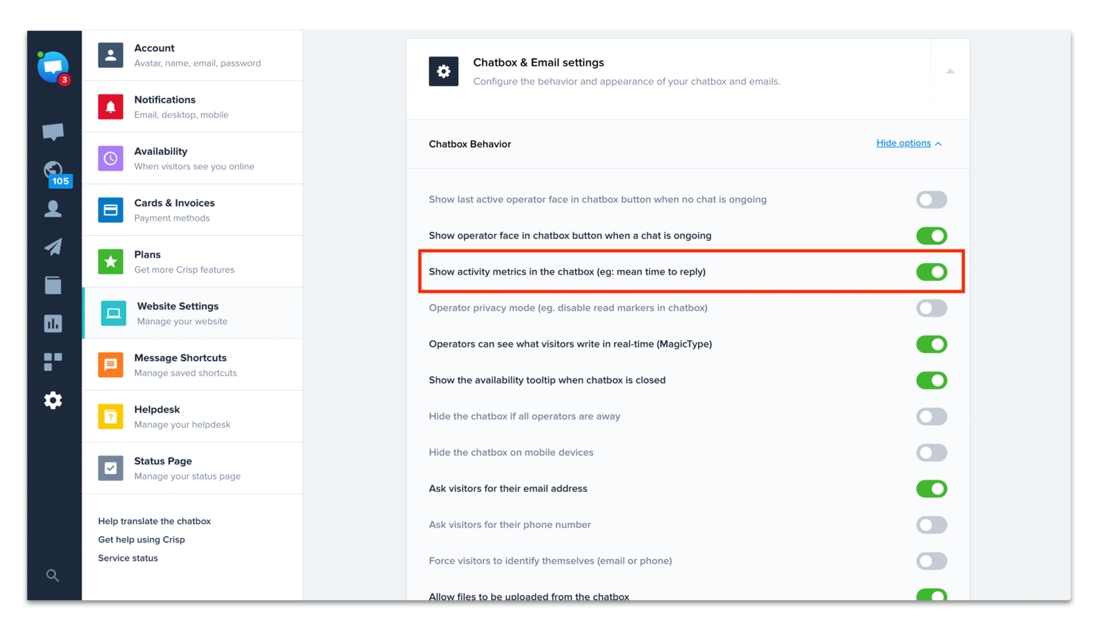 Disable: Show activity metrics on the chatbox