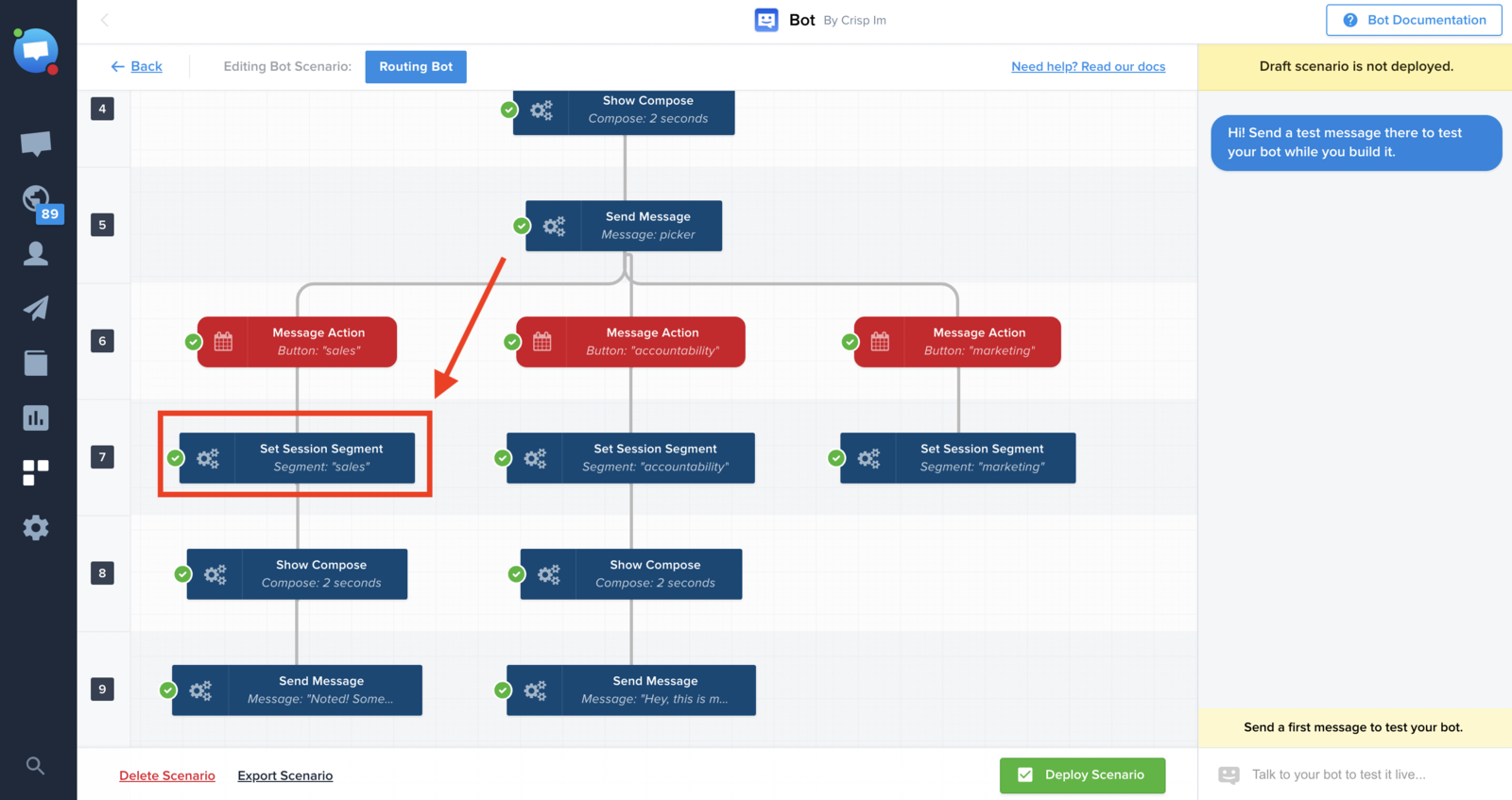 Example of a chatbot scenario having a Set Session Segment