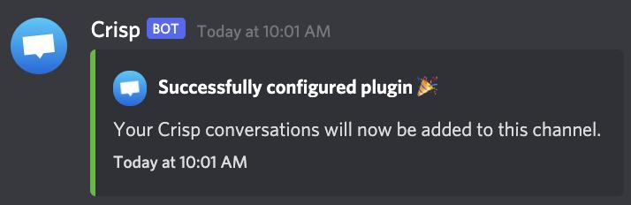 Discord plugin configured
